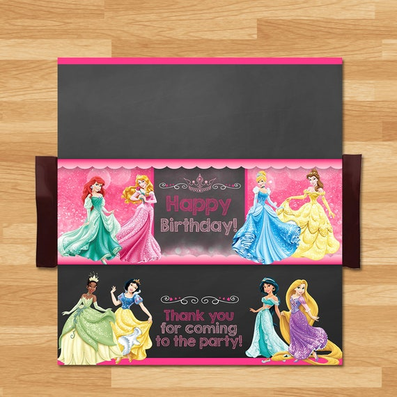 Disney Princess Candy Wrapper - Chalkboard - Disney Princess Chocolate Bar Wrap - Princess Party Favor - Princess Printable - Princess Party