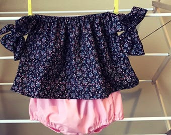 Black & Coral blossoms arm bow top and bloomers set