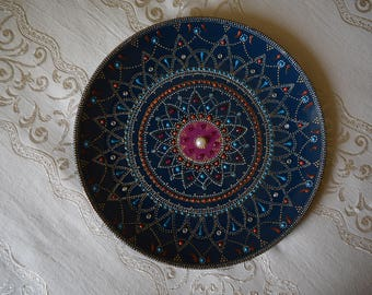 "Plate decorated entirely by hand, DIA 270 mm (10 "") - unique design, signed and numbered, excellent as a piece of furniture or as a gift."