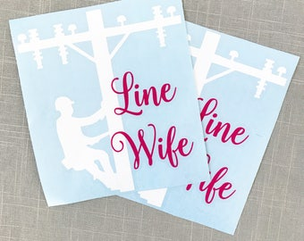 Lineman Wife decal, line man decal, car decal, wife decal, yeti decal, laptop decal, tumbler decal, car decal, Wife Sticker, YETI STicker