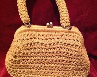 1950s Vintage Ladies Handbag / Purse / Woven Handbag / Style by - Lightson Hubband