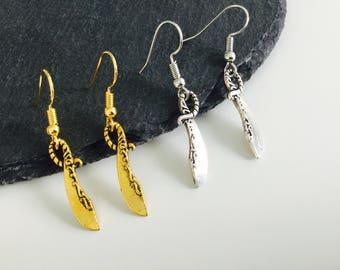 Sword earrings, sword jewellery, ancient sword , dangle earrings, sword and the stone , barbaric, history , jewelry