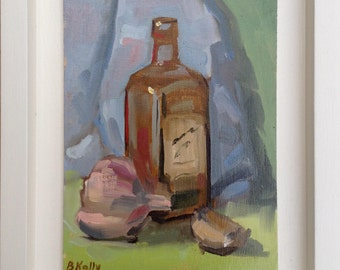 """Framed Oil Painting of Olive Oil bottle and Garlic bulb """"Olive Oil and Garlic"""" by Barbara Kelly"""