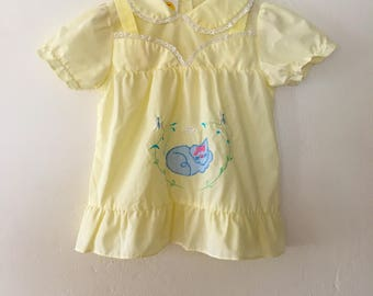 Vintage Baby Girls Yellow Dress with Kitty Cat * Peter Pan Collar * Summer Dress 24 Months 2t