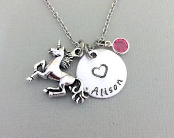 Personalized Unicorn Necklace, Little Girl Necklace, Unicorn Jewelry, Daughter Necklace, Granddaughter Gift, Gift for Her, Mystical Gift