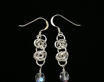Sterling Silver and Swarovski Crystal Chain Maille Earrings