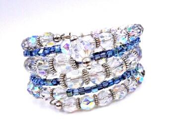 Crystal bracelet, memory wire bracelet, crystal wrap bracelet, beaded bracelet, crystal cuff bracelet, coil bracelet, layered bracelet