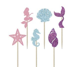 Mermaid Shaped Cupcake Toppers, Cake Topper, Cake Decoration