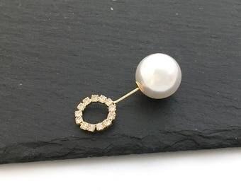 Pearl Pin Brooch, Rhinestone Pin Brooch, Shawl Pin, Scarf Pin, Stick Pin Brooch, Hat Pin, 1pc