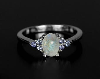 Wedding moonstone ring, delicate rainbow moonstone for her, tiny moonstone engagement 14K white gold ring Tanzanite ring December Birthstone