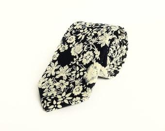 Navy blue floral tie floral Wedding tie navy floral skinny tie groomsmen uk