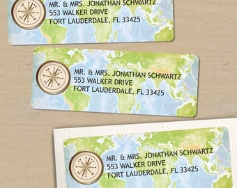 "Printable Compass and World Travel Map Return Address Labels, 30 Personalized 2 5/8"" x 1"" Labels, Editable PDF, Instant Download"