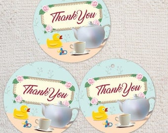 "Printable Tea Party Baby Shower Thank You 2"" Images, Instant Download JPG (not editable) for envelope seals, stickers, tags, cupcake toppers"