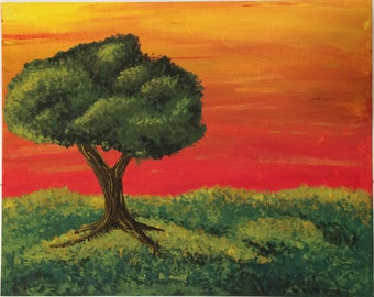 Acrylic Sunset Painting
