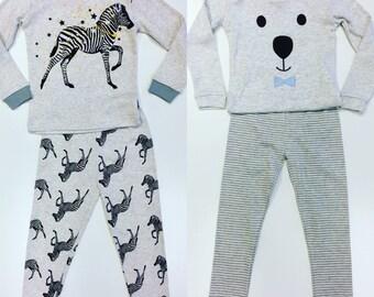 Zebra Pajamas, Bowtie Pajamas, Kids Pajamas, Kids PJ's, PJ's, Face Pajamas, Bear Pajamas Striped Pajamas