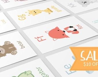 Alphabet Flashcards | Alphabet Animals | Letter Flashcards | Nursery Decor | Baby Birthday Gift