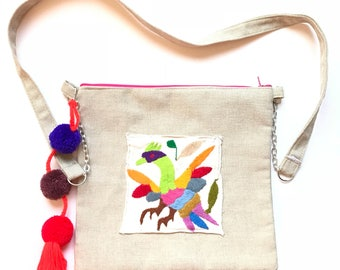 Otomi bag, Otomi embroidery, Mexican crossbody bag, Mexican bag, Mexican messenger bag, Pom pom bag, Embroidered bag, Mexican backpack