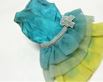 1960s Genuine Barbie Doll Party Dress Blue and Yellow Ruffled Barbie Dress by Mattel