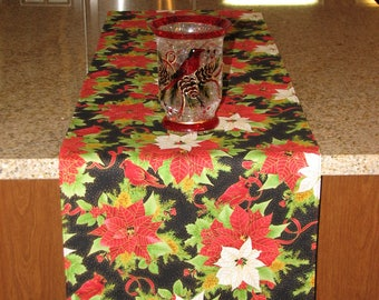 Xmas Table Runner Sparkly Table Runner Poinsettia Runner Gold Table Runner  Christmas Table Runner Christmas Decoration