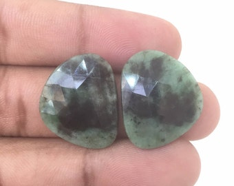 Matched Pair,Rose Cut Emeralds,Emerald Stone,Loose Emeralds,Natural Emeralds,Untreated Emeralds,Emerald Slices,22X18 MM Emerald Pair