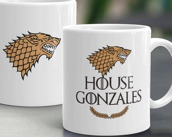 Game of Thrones Mug. Last Name Personalized Game of Thrones Cup. Birthday Gift for Game of Thrones fan.  Personalized Fathers Day Mug.