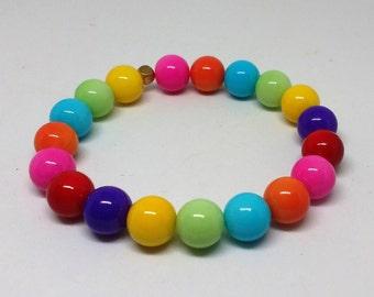Rainbow Bracelet, Multicolor Bracelet, Bubblegum Bracelet, Glass Bead Bracelet, Stretch Bracelet, Elastic Bracelet, Small Wrist Bracelet