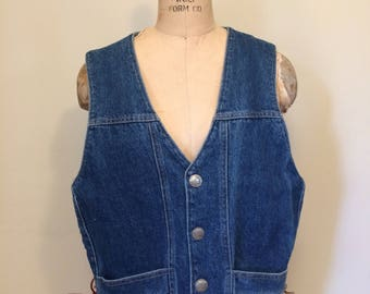 Men's Western Denim Vest with Buffalo Nickle Snaps | Size Men's Small and Women's Medium | Rancher | Rodeo | Made in the USA
