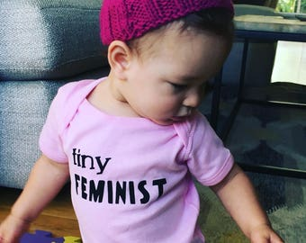 Tiny Feminist Baby Bodysuit // Baby Feminist//  White, Heather Gray, Pink, Blue, or Yellow // Baby Outfit