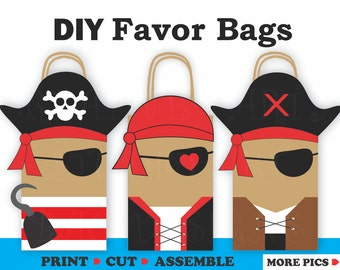 Pirate Favor Bags/ Pirate Party Bags/ Pirate Birthday Party Supplies/ Pirate Party Theme / Pirate Birthday invitations/ Treat/ Gift/ bags