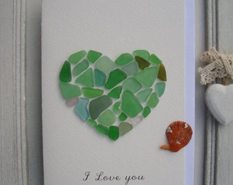 Greeting card for Valentine's Day-Genuine sea Glass card-Mosaic-Handmade-I Love You card-Sea Glass Heart