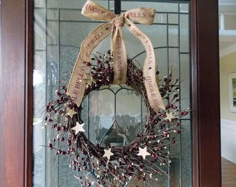 Christmas Wreath-Christmas Wreaths for Front Door-Front Door Wreaths-Rustic Wreath-Pip Berry Wreath-Star Wreath-Primitive Wreath-Pip Berry