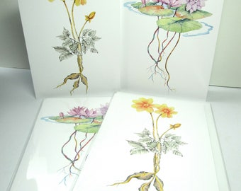 Spring flowers waterlilies, dahlia hybrids 5x7 watercolor printed greeting cards 4 pack set
