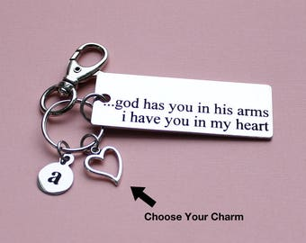 Personalized Memorial Key Chain God Has You In His Arms I Have You In My Heart Stainless Steel Customized with Your Charm & Initial - K227