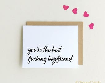 "Valentine Card Valentines Day Card ""best boyfriend""Card best fucking boyfriend card for boyfriend"