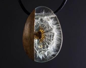 Dandelion & teak wood necklace