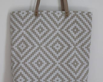 """Tote bag"" tote bag in cotton and faux leather"