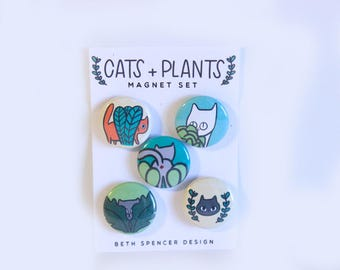 Cats and Plants Magnets / Cat Magnets / Plant Magnets / Cat Magnet / Cat Magnet Set / Plants and Cats Magnet Set / Plant Magnets / Cat Lady