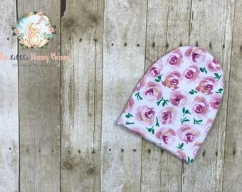 Slouchy Beanie Hat - Baby Beanie Hat - Toddler Beanie Hat - Reversible Hat - Floral Hat - Pink - Baby Girl Beanie