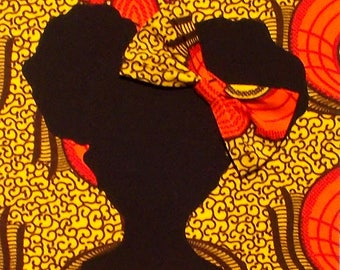 Orange Yellow Abstract African Wax Print Girl's 8x10 Fabric Art