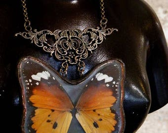 Necklace with real butterfly wings (small monarch)