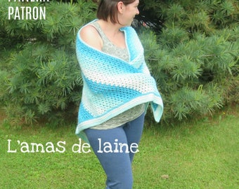 Watercolour Shawl crochet pattern - cape, wrap, shoulders, warmer - pdf file, digital download