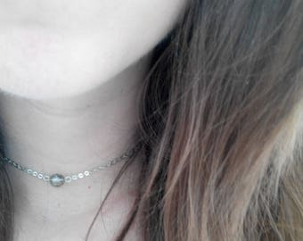Silver Minimalist Delicate Choker Necklace With Beautiful Gray/Green Shiny and Matte Faceted Stone/ Simplistic choker