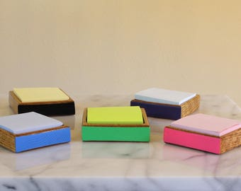 Post it note holder - Custom Color Options Wooden