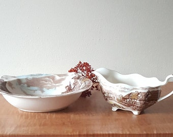 Vintage Johnson Brothers Olde English Countryside English Transferware Footed Gravy Boat and Serving Bowl Set