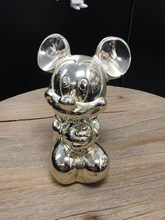 1989 Reed & Barton Disney Babies Mickey Mouse Silverplated Bank