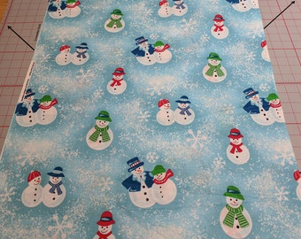 Snowmen on Blue Cotton Fabric