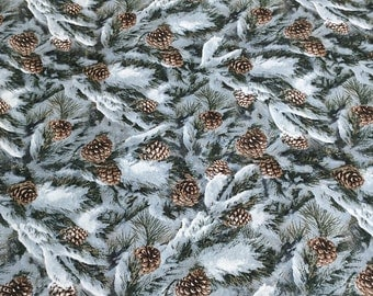 Snow Covered Pine Branches Cotton Fabric