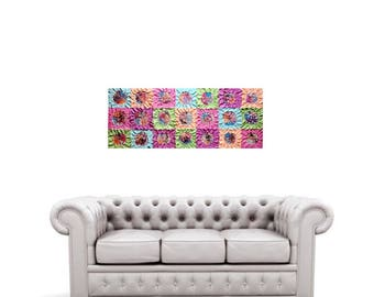 Original flower art textured patchwork painting neon 40x16 FREE SHIPPING