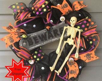 Halloween Wreath for Front Door, Halloween Deco Mesh Wreath, Fall Wreath, Halloween Wreath, Halloween Decor, Skeleton Wreath, Glitter Wreath