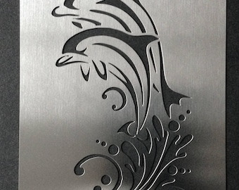 Jumping Dolphins Ocean Stainless Steel Stencil Template 7cm x 4.5cm